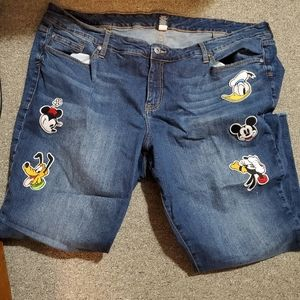Plus size Disney jeans ankle length mickey mouse